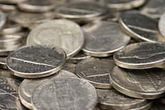 American Nickels. A high resolution, close up image of American nickels stock images