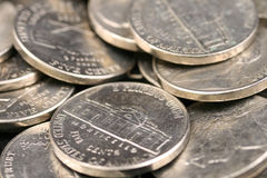 American Nickels. A high resolution, close up image of American nickels royalty free stock image