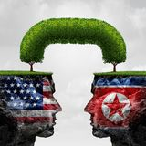 American And North Korea. Agreement and diplomacy between pyongyang and washington as an asian crisis negotiation connection with 3D illustration elements Stock Image