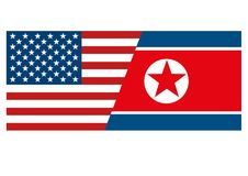 The American and the North Korean flag isolated symbolizes that North Korea leader Kim Jong-un has invited President of USA the Un. Ited States of America Donald Stock Photo
