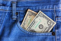 American note in jean pocket. American note in jean pocket,the jean in American life with note royalty free stock photos