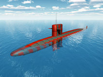 American Nuclear Submarine. Computer generated 3D illustration with an American Nuclear Submarine of the cold war Stock Image