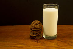 American nut cookies and a glass of milk Stock Images
