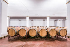 American oak barrels with red wine. Traditional wine cellar Stock Photos