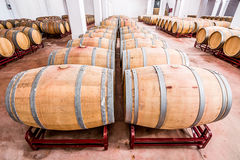American oak barrels with red wine. Traditional wine cellar Stock Image