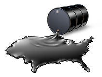 American Oil Industry. With a black drum barrel pouring and spilling out fossil fuel liquid crude as a map of the United States showing the financial energy vector illustration