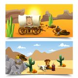 American Old West Horizontal Banners. With cart of cowboy at sundown and sheriff accessories isolated vector illustration vector illustration