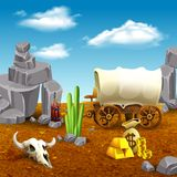 American Old West Illustration. American old west, wooden cart, money, dynamite and animal skull on prairie nature background vector illustration royalty free illustration