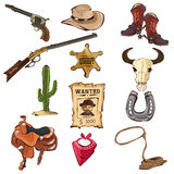 American Old Western Icons. A vector illustration of American old Western icon sets Stock Photography
