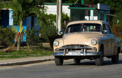 American Oldtimer on the road in Cuba Royalty Free Stock Image