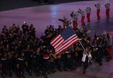 American Olympic team marched into the PyeongChang 2018 Olympics opening ceremony at Olympic  Stadium in PyeomgChang. PYEONGCHANG, SOUTH KOREA – FEBRUARY 9 Stock Photography