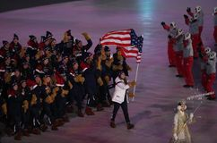 American Olympic team marched into the PyeongChang 2018 Olympics opening ceremony at Olympic  Stadium in PyeomgChang. PYEONGCHANG, SOUTH KOREA – FEBRUARY 9 Royalty Free Stock Image