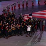 American Olympic team marched into the PyeongChang 2018 Olympics opening ceremony at Olympic  Stadium in PyeomgChang. PYEONGCHANG, SOUTH KOREA – FEBRUARY 9 Stock Photo