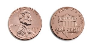 American one cent, USA 1 c, bronze coin isolate on white backgro. American one cent, USA 1 c, bronze coin both sides isolate on white background. Abraham Lincoln Stock Photos
