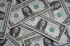 Free American One Dollar Banknotes Wallpaper. Close Up Of Money. Wealth Concept, Free Trade. Stock Images - 211124624
