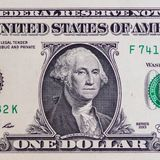 One Dollar bill closeup view stock images