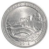 American one quarter coin - chaco culture national park Royalty Free Stock Images