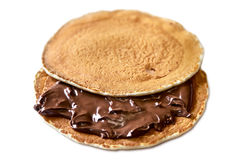 American Pancake with chocolate. On white background Stock Images