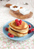 American pancakes. Delicious American pancakes with raspberries Royalty Free Stock Photo