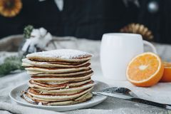 American pancakes for breakfast with a cup of coffee stock images