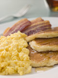 American Pancakes with Crispy Bacon and Scrambled Stock Photo