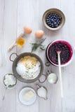 American Pancakes Ingredients Stock Photos