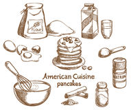 American Pancakes and Ingredients Stock Photo