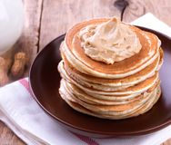 American pancakes with Peanut Butter Royalty Free Stock Photo