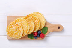 American pancakes with raspberries and blueberries Stock Image
