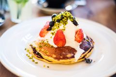 American pancakes with ricotta Royalty Free Stock Images