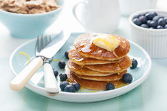 American pancakes with syrup and blueberry Stock Photos