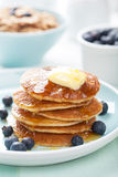 American pancakes with syrup and blueberry Royalty Free Stock Images