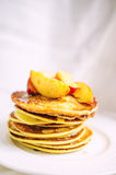 American Pancakes With Peaches And Honey Stock Photography