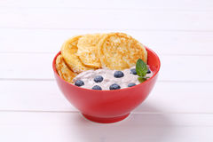 American pancakes with yogurt and blueberries Stock Image