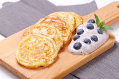 American pancakes with yogurt and blueberries Royalty Free Stock Image