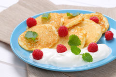 American pancakes with yogurt and raspberries Stock Images