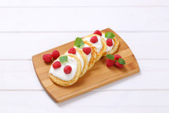American pancakes with yogurt and raspberries Royalty Free Stock Photography