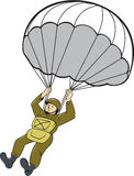 American Paratrooper Parachute Cartoon Stock Photo