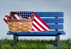 American Park Bench. Stock Photo