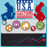 American Parties Candidates Poll with Icons of the Political Campaign, Vector Illustration. Poster with some icons of the political campaign: information, social Stock Image