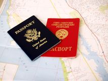American passport. And soviet passport and California map for travels Royalty Free Stock Photo