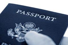 American Passport in International Traveler Hand royalty free stock photos