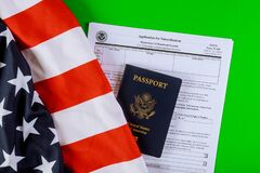 Free American Passport On US Citizen Ship Application An American Flag Royalty Free Stock Photo - 172426035