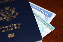 American passport, permanent resident card and social security number card. Are issued to the citizen or non-citizen nationals of the United States of America Stock Image