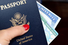 American passport, permanent resident card and social security number card Royalty Free Stock Image