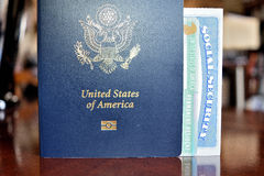 American passport, permanent resident card and social security number card. Are issued to the citizen or non-citizen nationals of the United States of America Stock Images