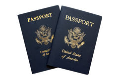 American passports. Isolated on a white background royalty free stock photography