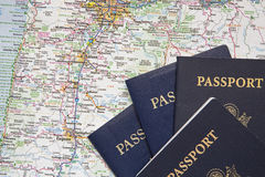 American passports travel road map background. The western states road map and passports concept of travel show usa roads and cities royalty free stock images
