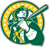 American Patriot Baseball Player Green Gold Retro Royalty Free Stock Photos