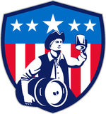 American Patriot Beer Keg Flag Crest Retro Royalty Free Stock Photo